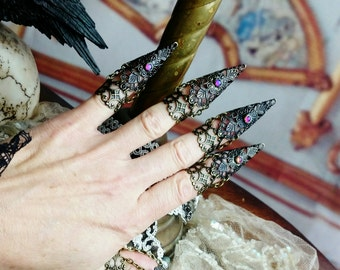 Mystic Raven Claw Rings- nail rings - 5 pc statement armor ring set
