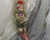RESERVED Ishtar, Spring Rebirth, Solstice Goddess, Cottage Kitchen Witch,  Assemblage Art doll Shabby Chic,  Decor OOAK