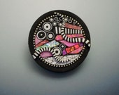 Pin brooch pendant necklace Round circle polymer clay iridescent pink colors sterling silver beads black and white elements