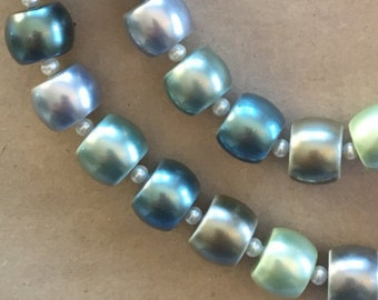 SALE Now 12 down from 18. Barrel-shaped Glass Pearls   (Item # 5193)