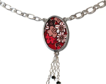 Red and Gold Blossom Silk with Silver and Gemstones Tassel Necklace by Shi Studio