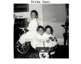 Vintage Photo - Trike Taxi - Adorable Kids on a Tricycle - INSTANT DOWNLOAD