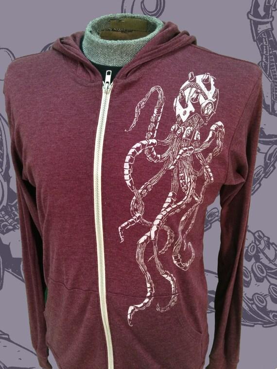 Unisex Zip Hoodie - Roboctopus Hooded Sweatshirt - Robot Octopus Jacket