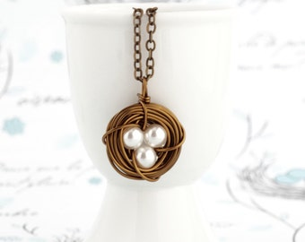 Nest Necklace - Gift For Women - Gift For Mom - Pearl Bird Nest Necklace - Rustic Jewelry - Push Present For Expectant Mom - Gift For Mommy