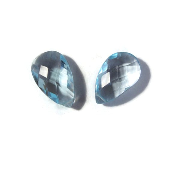 Two Blue Topaz Beads, Stunning Matched Pair of Briolettes, Set of 2 Gemstones for Making Jewelry, 16mm x 10mm (B-Bt3a)