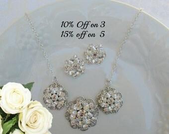Bridal Jewelry, Necklace Earring Sets, Bridesmaid Jewelry Set, Bridesmaid Gifts, Crystal Necklace, Matching earrings