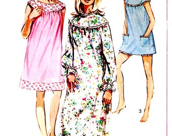 60s Mod babydolls nightgowns bloomers lingerie vintage sewing pattern Simplicity 7910 Bust 34 to 36