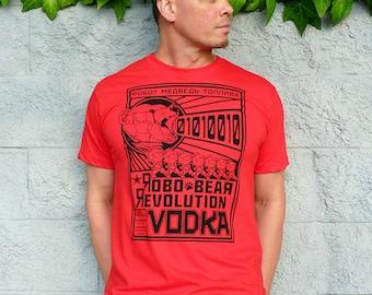 Bear Shirt, Vodka Tshirt, Mens Tshirt, Boyfriend Tshirt, Gift for Him, Mens Graphic Tee - Robo Bear Revolution Vodka Tshirt