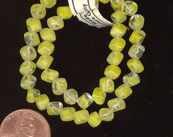 50 Vintage Glass Beads ~ Yellow & Clear Givre Diagonal Square Cube From West Germany. 6mm No. 359F