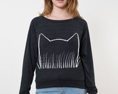 SALE Cat Ears Print, Lightweight Slouchy Sweatshirt Black Pullover gift for her crazy cat lady christmas gifts for teen girls cat lover gift