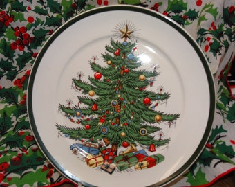 "Vintage Cuthberston Christmas Plate, 8"" Salad Plate, Made in England, Christmas Tree China, Fine China Holiday China"