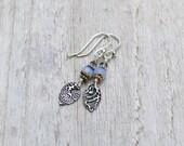 PMC Fine Silver Czech Glass Sterling Silver Earrings Leaves Periwinkle