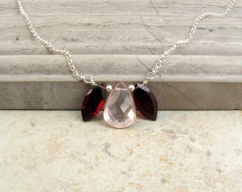 Rose Quartz Necklace with Garnets in Sterling Silver - Pink and Burgundy Necklace - Short Layer Necklace - January Birthstone