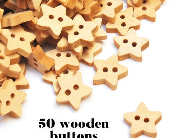 50 Wooden Buttons Wholesale. children buttons. small star sewing buttons. craft buttons. wooden sewing buttons #120204