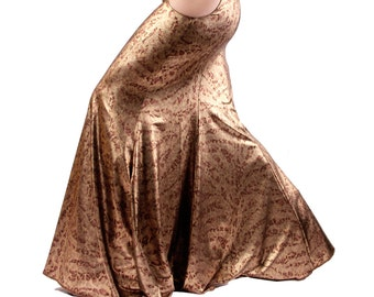 Skirt, YOUR SIZE, Gold, Hip Cut Outs, Mermaid, Nouveau, Tribal, Fusion Bellydance Costume, Cabaret, Goth, Cocktail, Dance, Long Party Skirt