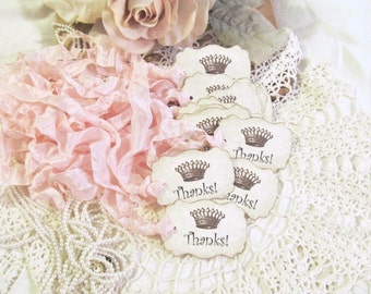 French Crown Tags Thanks! Thank You Parchment Favor Gift Shower - Set of 18 - Choose Ribbons - Birthday Paris Party Baby Wedding Princess