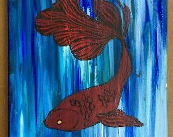 Fighting Fish Painting