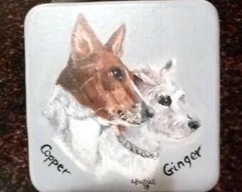 dog treat jar, biscuit jar, basenji, jack russell, hand painted,handpainted,custom pet portrait,half gallon jar,gray