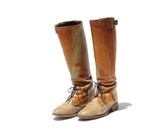 Vintage Amber Brown Leather Riding Boots / Tall Riding Boots / size 7.5