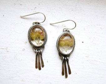 MADE TO ORDER Yarrow Flower and Sterling Silver Dangle Earrings