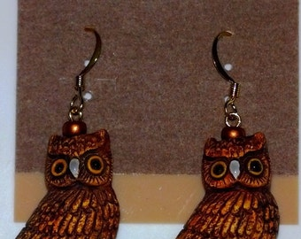 Brown Owl Earrings, Owl Totem Animal, Owl Jewelry, Owl Spirit Guide