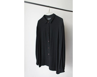 1990's Black Soft Rayon Oversized Long Sleeves Shirt