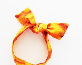 Citrus Oranges Head Scarf / Multipurpose Hair Accessory, Neck Scarf, Handbag or Walker Adornment, Pet Neckwear / Unique Gift Under 25