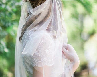 drape veil, boho veil, bohemian wedding veil, tulle veil, bridal veils and headpieces, wedding veil, ivory bridal veil, veil only