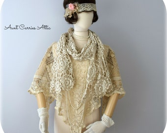 Crochet Scarf Blanket Scarf Flapper Style Scarf 1920s Look Shabby Tattered Scarf Boho Romantic Scarf Downton Abbey Style