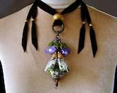 Turquoise Amethyst Peridot Tribal Amulet Necklace Glass Vial Bottle Bone Specimen Pagan Talisman Boho Fashion ATHENA by Spinning Castle