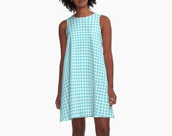 Dress - Gingham Turquoise