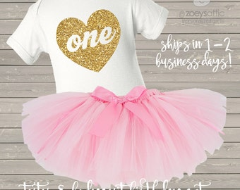 Pink and gold first birthday bodysuit and pink tutu set / first birthday outfit pink and glitter gold