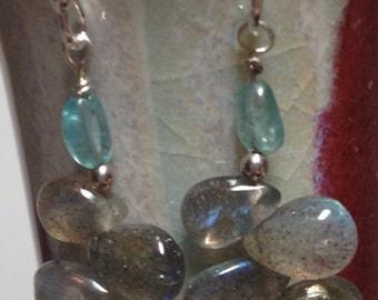 Labradorite Earrings Apatite Earrings Genuine Gemstone Earrings Sterling Silver Aqua Blue Green Grey Earrings Briolette Dangle