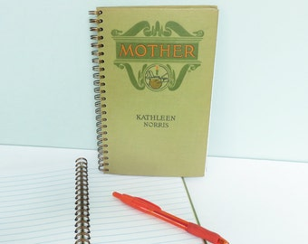 Repurposed Book Cover Journal, ©1911 Mother by Kathleen Norris, Wire Spiral Binding, 50 Lined Pages, Yarn & Knitting Needles