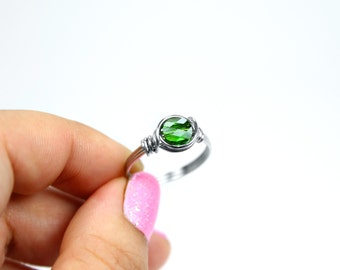 Wire Wrapped Ring - Crystal ring - Rings - Stainless Steel - Green Ring - Stacking Ring - August Birthstone - Peridot Ring - Promise Ring