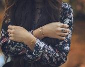 open cuff, labradorite, bracelet, thin cuff, adjustable, stacking, stone, bezel, dainty, tiny, delicate // IN ORBIT CUFF