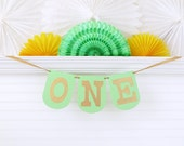 Mint and Gold ONE Banner - 7.25 inches tall - 1st Birthday Banner One Highchair Banner One Birthday Banner First Birthday Decoration Sign