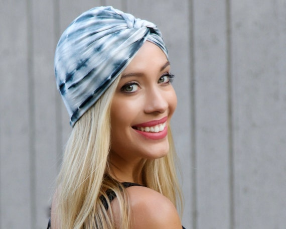 Tie Dye Shibori Turban Hair Accessory Chemo Hat Hair Covering Chemo Turban Retro Accessory Stretch Turban Tichel Hijab Head Scarf Festival