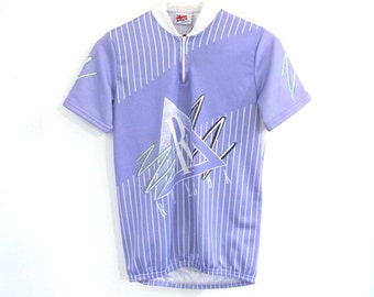 80s REEBOK Cycling Jersey Memphis Design Lavender Pastel Medium Shirt NWT Deadstock