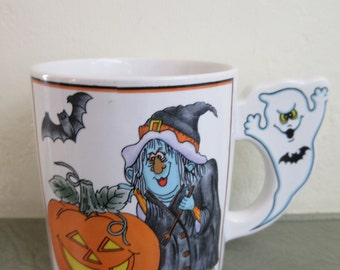 Vintage Mug, Halloween Mug, Halloween Decor, Witch and Ghost, Holiday Decor, Figurative Handle, Made in Japan, Ceramic Mug, Witch & Pumpkin