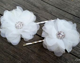 Bridal Flower Pins, White Flower Pins, Wedding Hair Pins, Rhinestone Hair Pins, Wedding Flower Pins, Bridal Hair Pins, Bridal Hair Piece