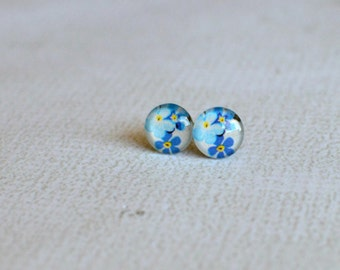 Glass Flower Earrings- Forget Me Not Glass Studs- Titanium Earrings- Titanium Glass Studs- Made with Upcycled Paper- One of a Kind