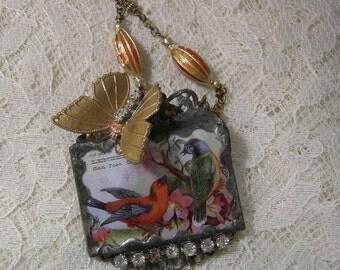 Solderd Glass Assemblage Necklace - Beautiful Birdies - Birds And Butterflies - REDuCED