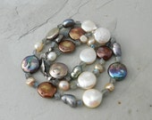 Blue, Bronze, White Mixed Pearl & Gray Blue Labradorite Gemstone Hand Knotted Strand Necklace