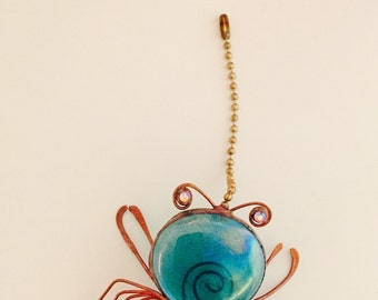 Crab Fan Pull, Light Pull, Beachy Pull, Sea Life Accents, Coastal Chic, Copper Crab, Glass Fan Pull, Blue Crab, hostess gift