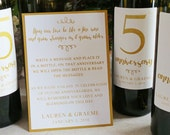 Guest Book Anniversary Wine Labels 4-6 labels, 1 instructional sign..choose your colors and numbers.... faux gold foil