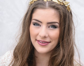 Golden Metal Leaf Wedding Hair Accessories, Brass Leaf and Champagne Pearl Beaded Wedding  Bridal Headpiece, Metal Leaf Headband