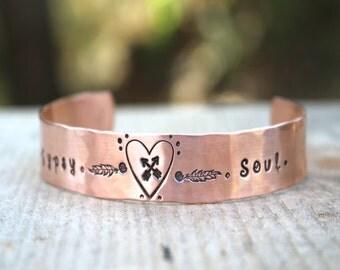 Gypsy Cuff, Copper Cuff, Crossed Arrow Cuff, Heart Cuff, Hammered Cuff, Cuff Bracelet, Womens Cuff, Feather Cuff, Gypsy Soul Bracelet