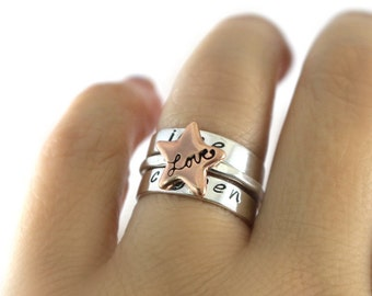Custom Ring Gift Silver Stack Rings Love Rings Star Stack Ring Sterling Stack Rings Personalized Stack Ring Sterling Silver Band Stack Ring