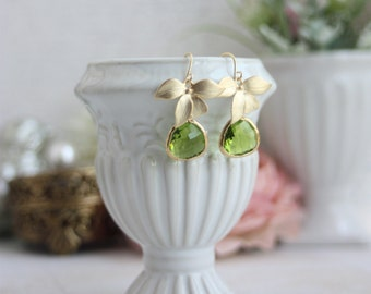 Gold Plated Orchid Flower Olivine Green Glass Framed Jewel Drop Earrings. Bridesmaid Gifts Modern Everyday Jewelry Earrings, Green Wedding
